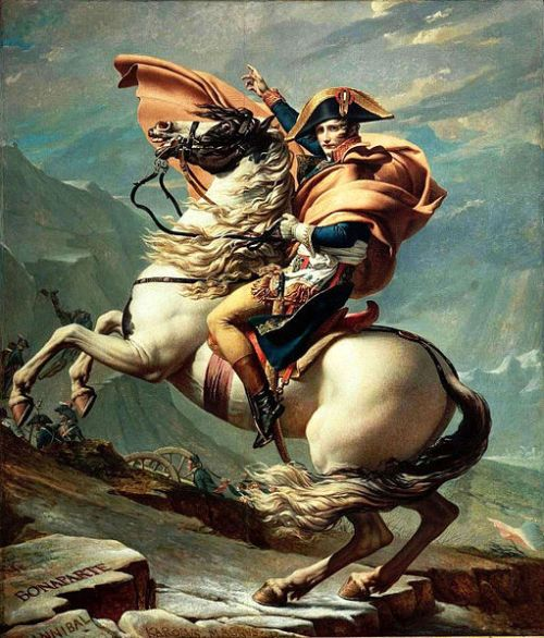 Napoleon and His Horse, who is clearly rearing as a result of the time warp. Painting by Jacques-Louis David