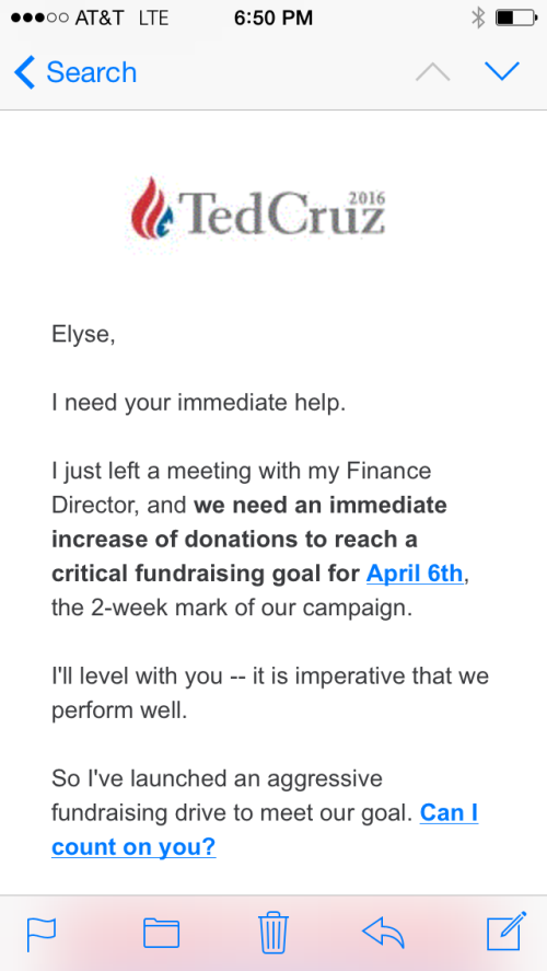 Oh Boy Howdy!  I can work long and hard to support a crazy man from Texas!  Yee-Haw!  (My photo of Ted's email -- eat your heart out, Google Images)